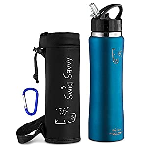 Swig Savvy Stainless Steel Insulated Leak Proof Flip Top Straw Cap Water Bottles with Pouch & Clip, Light Blue, 750 ml