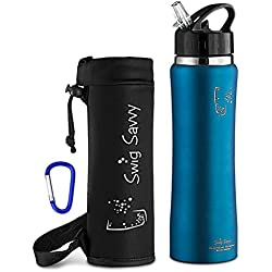 Swig Savvy Sleek and Sporty Double Wall Stainless Steel Water Bottle with Straw Cap , 25oz - Blue - Including Water Bottle Pouch