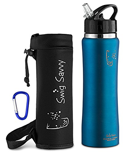 Swig Savvy Stainless Steel Insulated Leak Proof Flip Top Straw Cap Water Bottles with Pouch & Clip, 24oz, Light Blue