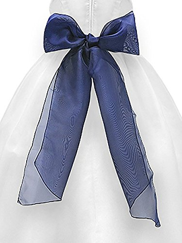Pin Colored Flower (Bello Giovane Girls Organza Sash Belt with Detachable Flower Pin (One Size, Navy))