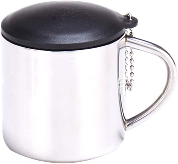Kentop Taza de Caf/é de Acero Inoxidable con Tapa para el Hogar de Oficina Camping,101-200ML