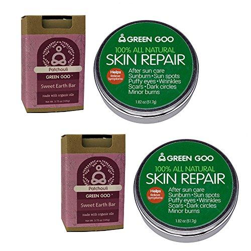 Green GooSkin Repair Large Tin & Pachouli Sweet Earth Bar, Pack of 2