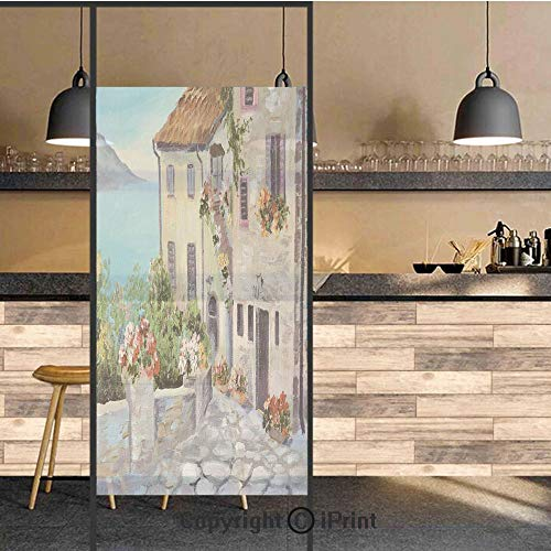 (3D Decorative Privacy Window Films,Old Houses in a Small Town Sea and Flower Pots at Windows Oil Painting Style,No-Glue Self Static Cling Glass film for Home Bedroom Bathroom Kitchen Office 24x71 Inch)