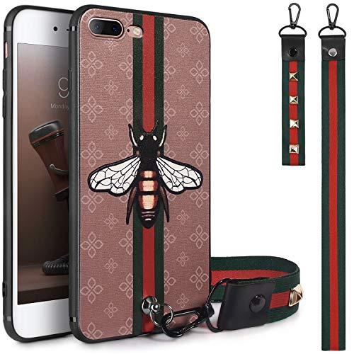 iPhone 7 Plus Case, iPhone 8 Plus Case, Dairnim Ultra-Slim Non-Slip [3D Bees Pattern Relief] Soft TPU (Long Short Lanyard) Vintage Retro Phone Case Compatible with iPhone 7 Plus/8 Plus 5.5, Khaki
