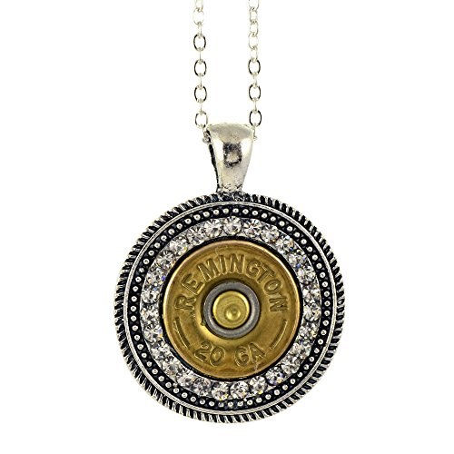Shotgun Shell Pendant Necklace, 20 Gauge Bullet Casing with Silvertone Clear Crystal Swirl Pendant, (Shell Swirl Necklace)