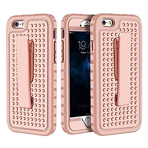 iPhone 6 Plus Case, iPhone 6s Plus Case Belt Clip Case, Asstar Ultra Thin Shock Reduction Sure Grip Rugged Armor Protective Cover with Locking Belt Clip for iPhone 6 Plus / 6s Plus (Rose (Iphone 6 Case Otterbox Hunting)
