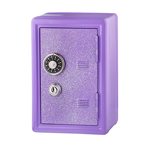 Kids Safe Bank, Made of Metal, with Key and Combination Lock, - Keeper Treasure
