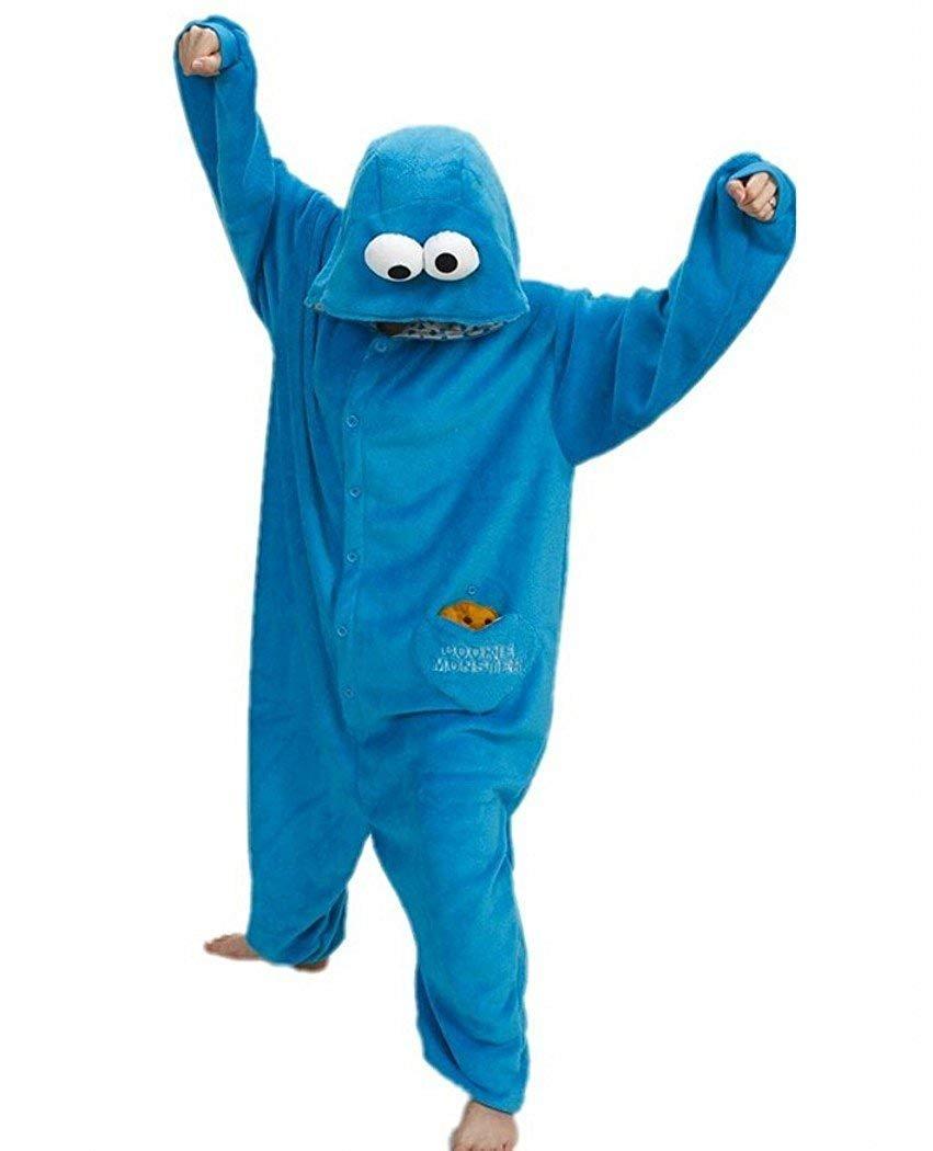 Sweetdresses Adult Unisex Animal Sleepsuit Kigurumi Cosplay Costume Pajamas (Small, Cookie Monster)