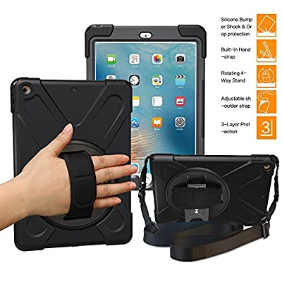 New iPad 2017 9.7 inch Case, BRAECNstock Heavy Duty stand Shockproof Protective Case Cover for Apple New iPad 9.7 inch (2017 Version) with a Hand Grip / a Shoulder Strap by BRAECNstock