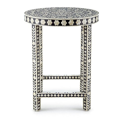 Antique Rustic Bone Inlay Black Floral Side End Table Handmade Inlay Furniture (Inlay Side Table Bone)