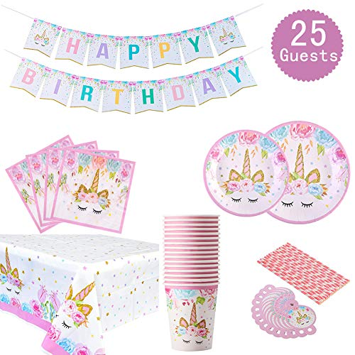 Unicorn Themed Party Supplies Set- Serves 25, Unicorn Birthday Banner, Plates, Cups,Napkins, Straws and Tablecloths, Disposable Unicorn Tableware for Girl Magical Party Decorations]()