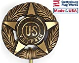 Gettysburg Flag Works Veteran Grave Marker, Bronze Cemetery Plaque, Memorial Flag Holder, Made in USA