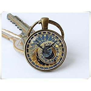 Clock keychain Prague clock key ring Clock jewelry Steampunk key chain Clock pendant