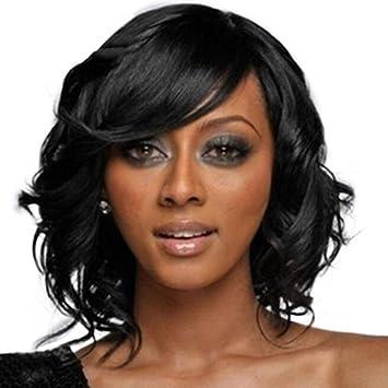 Pelucas Rizadas Peluca De Pelo Corto Y Rizado Para Mujer Peluca Sintética Esponjosa Negra Disfraz De