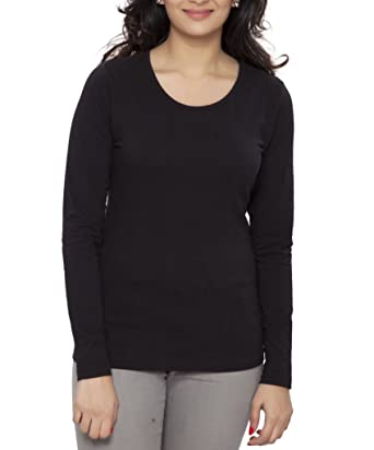 Clifton Women's Basic T Shirt Full Sleeve Round Neck - Black ...
