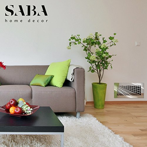 SABA Air Vent Covers Register - Acrylic Fiberglass Grille 14'' x 6'' Duct Opening (17'' x 9'' Overall) Silver Mirror Finish Decorative Cover for Walls and Ceilings (not for Floor use), Vivian by SABA Home Decor (Image #5)