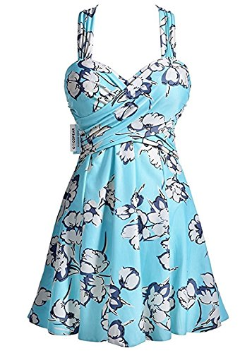 Tirahse Fashionable Women's Elegant Crossover One Piece Swimdress Floral Skirted Swimsuit(FBA) Medium...