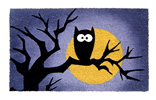 Geo Crafts Vinyl Back Halloween Owl Moon Doormat]()