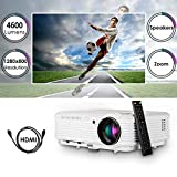 Video Projector 1080P Home Theater, 2019 Upgraded 4600 Lumen LED Wxga Outdoor Movie Projectors Daylight Multimedia Proyector with HDMI USB RCA VGA AV Zoom Speakers for Game Console Laptop PC DVD TV