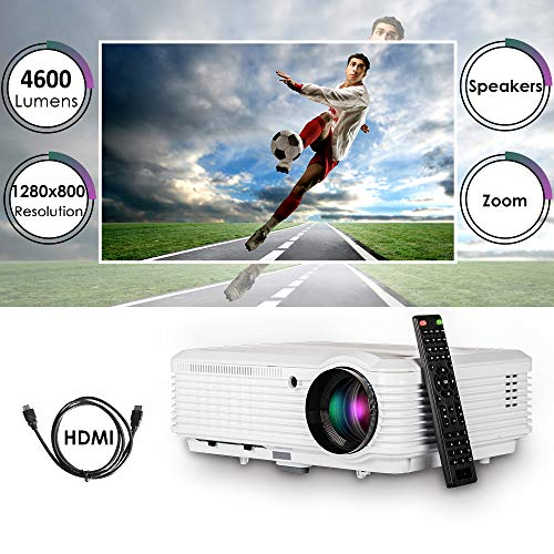 Video Projector 1080P Home Theater, 2019 Upgraded 4600 Lumen LED Wxga Outdoor Movie Projectors Daylight Multimedia Proyector with HDMI USB RCA VGA AV Zoom Speakers for Game Console Laptop PC DVD TV]()