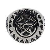 LILILEO Jewelry Stainless Steel Men's Rings Sun Flames Pentagram Totem Ring