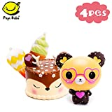 Papi Bobo Squishies Slow Rising Jumbo Cute Deer Cake & Kawaii Glasses Bear & 2 Ice Cream Creamy Scent for Kids Party Toys Stress Reliever Toy - 4 Pack