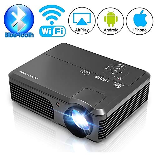 HD Video Projector Bluetooth WIFI Projector for Home Cinema Backyard Movie Game, 200 Inch Smart LED Projector with Speaker Zoom for iPhone Laptop DVD Player, HDMI VGA AV Cable Included