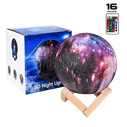 Night Light, SEGOAL 16 Colors LED 5.9 Inch Star Night Light 3D Print Moon Lamp with Stand, Touch & Remote Control & USB Rechargeable Decorative Light Perfect Gift for Kids Lover Friends Birthday