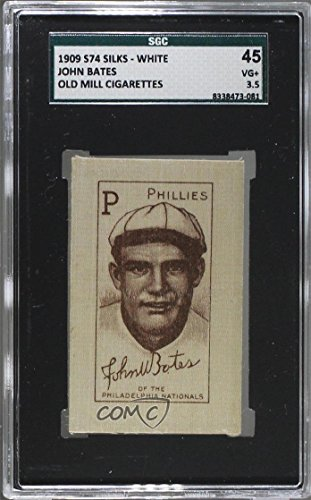 John Bates SGC GRADED 45 (Baseball Card) 1910 Cigarette Silks White - S74-2 - Old Mill #JOBA.2 (Cigarette Baseball Cards)