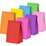 Tatuo 24 Pieces Party Bags Gift Dot Paper Bags Grocery Bags Craft Paper Bags Lunch Flat Bottom Paper Bags (18 x 9 x 6 cm, 8 Colors)
