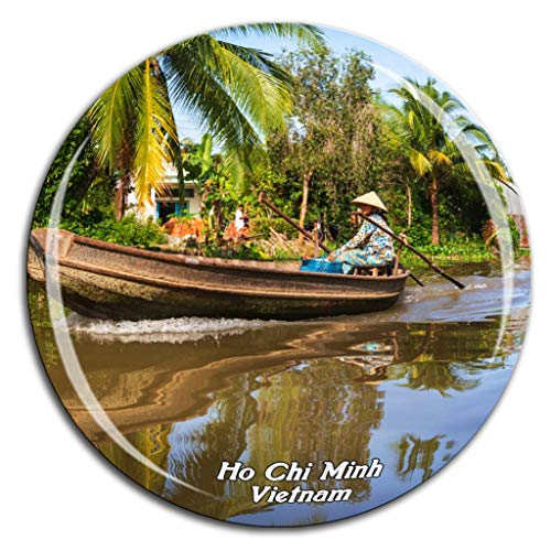(Mekong River Delta Ho Chi Minh Vietnam Fridge Magnet 3D Crystal Glass Tourist City Travel Souvenir Collection Gift Strong Refrigerator Sticker)