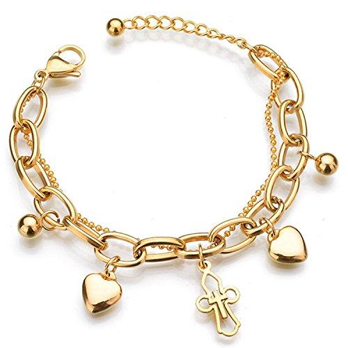 Forever & Ever Stainless Steel Chain Bracelets for Women - Adjustable Charm Love Cross Heart Bracelet