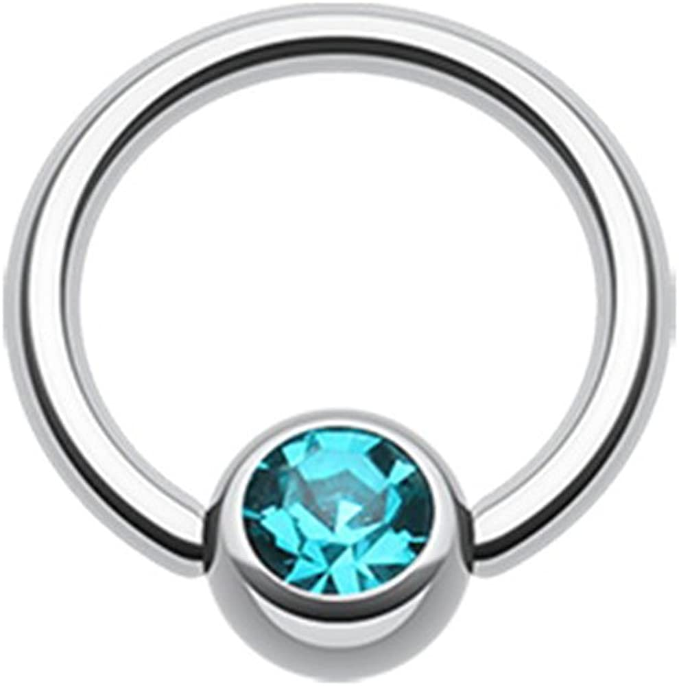 Inspiration Dezigns Large Gauge Captive Bead Ring Blue Synthetic Opal