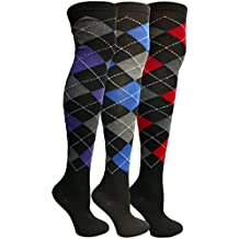 Yacht&Smith Womens Over the Knee Socks, 3 Pairs Premium Soft, Cotton Colorful Patterned