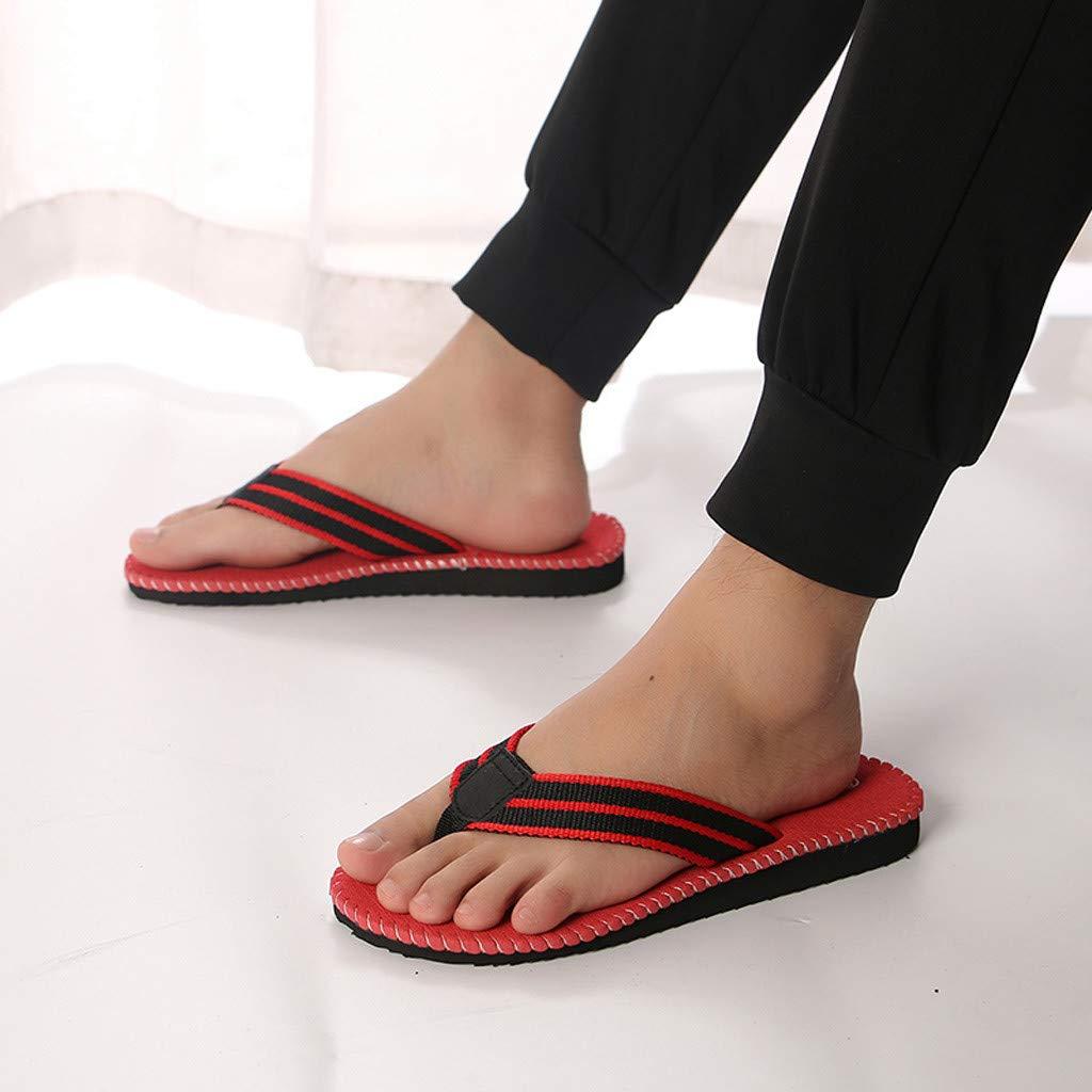 kaifongfu Summer Fashion Men's flip Flops Beach Sandals for Men Flat Slippers Non-Slip Shoes(Red,44) by kaifongfu (Image #5)