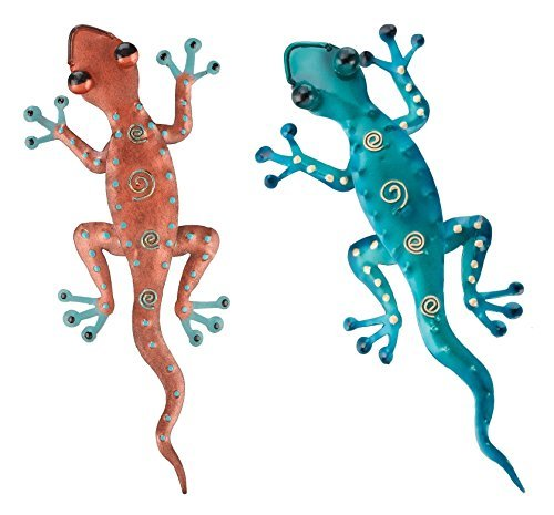 Regal Art & Gift 11-Inch Gecko Tropical Outdoor Decor, Metal Wall Art, Southwest Gifts - Copper and Blue