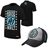 WWE AJ Styles'The House that AJ Styles Built' Black T-Shirt and'P1' Carolina Blue Baseball Hat (Extra Large)