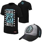 WWE AJ Styles'The House that AJ Styles Built' Black T-Shirt and'P1' Carolina Blue Baseball Hat (Large)