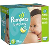 Pampers Baby Dry Diapers Economy Pack Plus, Size 2, 222 Count (One Month Supply)