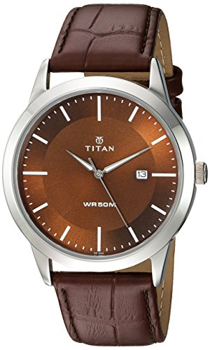 Titan Men's 'Neo' Quartz Metal and Leather Casual Watch, Color:Brown (Model: 1584SL04)