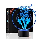 Skateboard Sport 3D Xmas Decoration Illusion Night Lamp Beside Table Lamp, Gawell 7 Color Changing Touch Switch Halloween Gift Lamps with Acrylic Flat & ABS Base & USB Cable Sport Lover Theme Toy