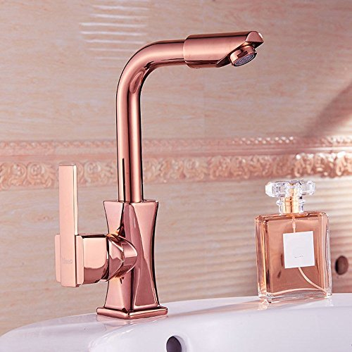 Single-Handle Kitchen Mixer Sink Tap Kitchen Faucet Single European single hole rotation faucet rose gold golden wash basin faucet, C with US Standard Fittings with US Standard Fittings