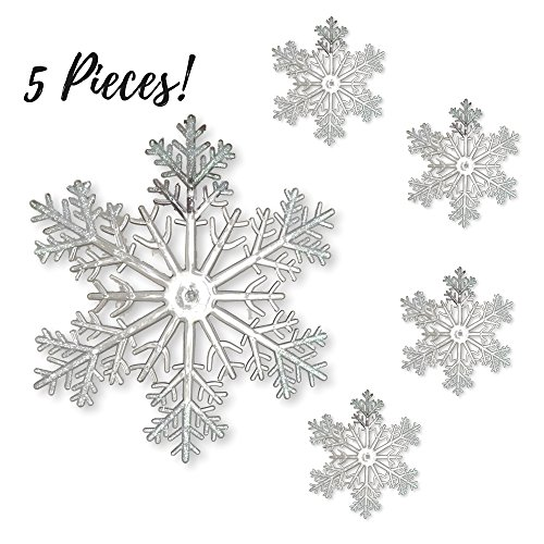 Large Snowflakes - Set Of 5 Clear Acrylic Large Snowflakes With Frosted Tips - Approximately 12