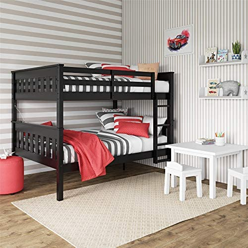 Dorel Living Moon Full over Full Bunk Bed with USB Port, Black