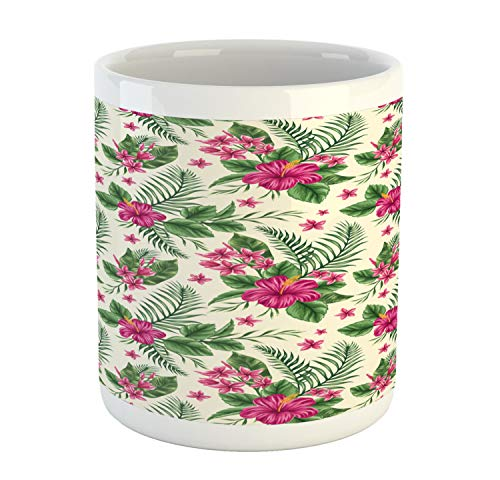 Ambesonne Watercolor Mug, Plumeria and Hibiscus Flora Tropical Island Nature Aloha Hawaii Jungle, Printed Ceramic Coffee Mug Water Tea Drinks Cup, Magenta Cream Green