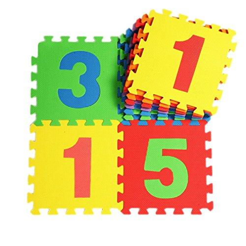 Y-BOA Lot de 10Pcs Tapis de Sol Puzzle Chiffre En Mousse Anti-dérapant Antichoc Jeu Apprendre Imagination Pour Bébé Taille 30*30*1CM