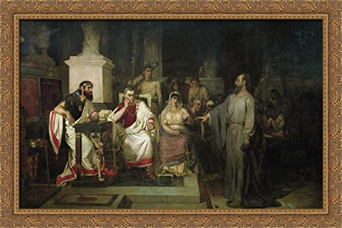 The Apostle Paul explains the tenets of faith in the presence of King Agrippa, his sister Berenice, and the proconsul Festus 40x26 Large Gold Ornate Wood Framed Canvas Art by Vasily Surikov by ArtDirect