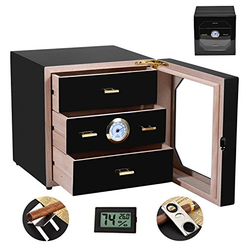 (COMMODA 3 Drawers Desktop Cigar Humidor Tempered Glasstop with Front Mounted Hygrometer and Humidifier, Spanish Cedar Lined Storage box, Holds 80 Cigars, Free Digital Humidity Thermometer Cutter Stand)