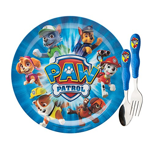Zak! Dinnerware Set, includes Nickelodeon Paw Patrol 8 inch Melamine Plate, Fork and Spoon with Paw Patrol Graphics, Break-resistant, BPA-free plastic and Stainless Steel, 3 Piece Set