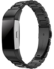 Band for Fitbit Charge 2, Simpeak Stainless Steel Replacement Band Strap for Fit Bit Charge 2 Fitness Watch with Pin Removal,Black